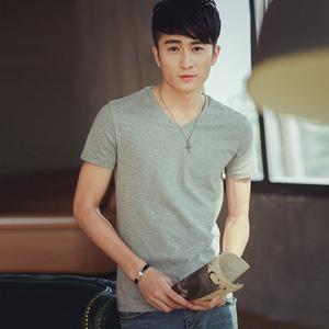 V领纯色t恤