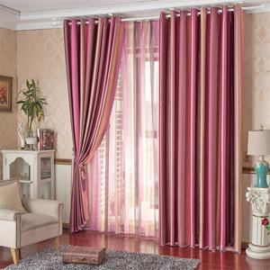 条纹窗纱双层定制窗帘