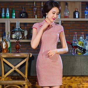 格子日常改良修身旗袍