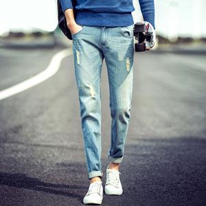 破洞牛仔裤直筒潮裤