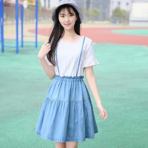 天天特价连衣裙女假两件荷叶袖公主裙大码显瘦背带裙中学生A字裙