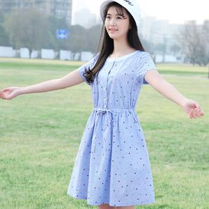 韩版修身中长裙圆领大码连衣裙少女公主裙学生A字裙夏装新品女裙